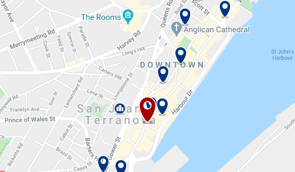 Accommodation in Downtown St. John's - Click on the map too see all available accommodation in this area