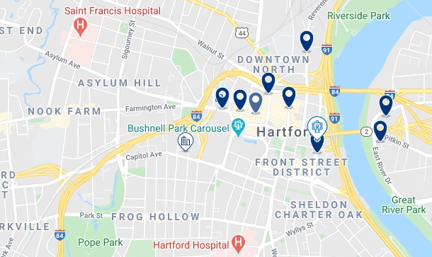 Accommodation in Downtown Hartford - Click to see all available accommodation on a map