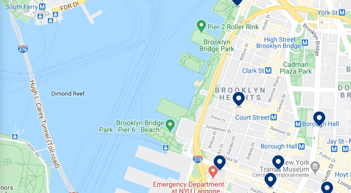 Accommodation in Brooklyn Heights - Click on the map to see all available accommodation in this area