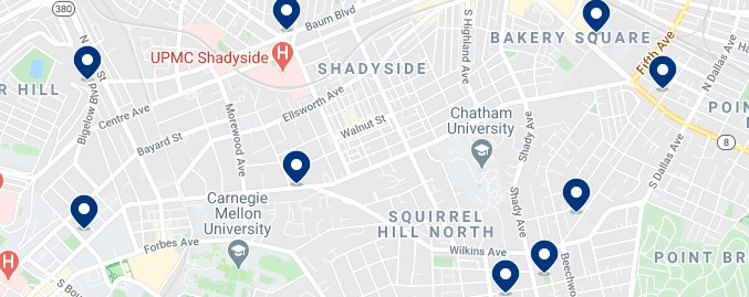 Accommodation in Shadyside - Click to see all the available accommodation on a map