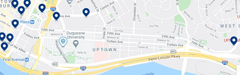 Accommodation in Uptown Pittsburgh - Click to see all the available accommodation on a map